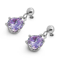 Round Dangle Simulated Amethyst Cubic Zirconia Earrings Sterling Silver