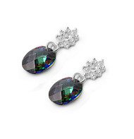 Flower Cluster Oval Faceted Rainbow Simulated Topaz Cubic Zirconia Earrings Sterling Silver