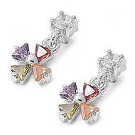 Iron Cross Dangle Multicolor Cubic Zirconia Earrings Sterling Silver