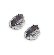 Stud Marquis Rainbow Simulated Topaz Cubic Zirconia Earrings Sterling Silver
