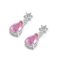 Star Flower Teardrop Dangle Pink Cubic Zirconia Earrings Sterling Silver