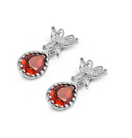 Butterfly Teardrop Simulated Garnet Cubic Zirconia Earrings Sterling Silver