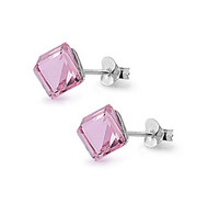 Cube Simulated Crystal Stud Earrings Sterling Silver Pink