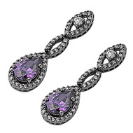 Black Rhodium Plated Infinity Dangle Simulated Amethyst Cubic Zirconia Earrings Sterling Silver