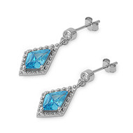 Triangle Cut Dangle Blue Simulated Topaz Cubic Zirconia Earrings Sterling Silver
