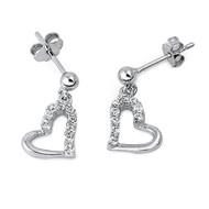 Heart Cubic Zirconia Earrings Sterling Silver 11MM
