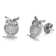 Owl Cubic Zirconia Earrings Sterling Silver 11MM