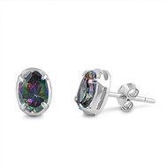 Oval Cubic Zirconia Rainbow Simulated Topaz Earrings Sterling Silver 7MM