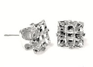 Sterling Silver Clear Cubic Zirconia Stamping Invisible Square Cross Stone Stud Earrings 4MM