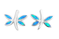 Dragonfly Blue Simulated Opal Earrings Sterling Silver 17MM