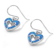 Heart Blue Simulated Opal Earrings Sterling Silver 11MM