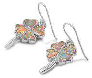 Clover Leaf Heart White Simulated Opal Earrings Sterling Silver 23MM