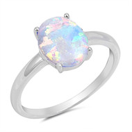 Oval Cut White Simulated Opal Solitaire Ring Sterling Silver 925