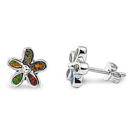 Flower Black Simulated Opal Earrings Sterling Silver 9MM