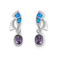 Designer Style Cubic Zirconia Blue Simulated Opal Earrings Sterling Silver 26MM