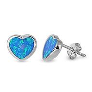 Heart Blue Simulated Opal Earrings Sterling Silver 9MM