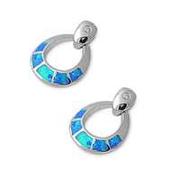 Round Blue Simulated Opal Earrings Sterling Silver 21MM