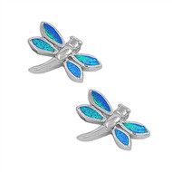 Dragonfly Blue Simulated Opal Earrings Sterling Silver 13MM