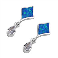 Fancy Paragon Teardrop Cubic Zirconia Blue Simulated Opal Earrings Sterling Silver 25MM