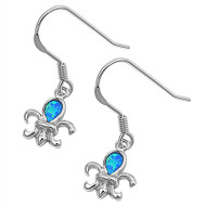 Fleur De Lis Blue Simulated Opal Earrings Sterling Silver 11MM