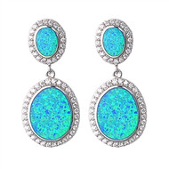 Double Oval Cubic Zirconia Blue Simulated Opal Earrings Sterling Silver 36MM