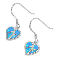 Heart Blue Simulated Opal Earrings Sterling Silver 14MM