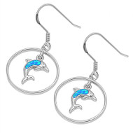 Dolphin Blue Simulated Opal Earrings Sterling Silver 22MM