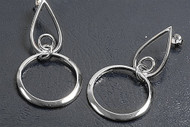 Designer Style Round Earrings Sterling Silver 50MM