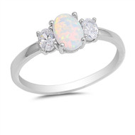 Three Oval Cut White Simulated Opal & Cubic Zirconia Ring Sterling Silver 925