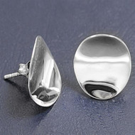 Bent Designer Style Round Earrings Sterling Silver 16MM