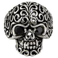 Floral Filigree Skull Ring Sterling Silver 925 Simulated Onyx Cubic Zirconia Eyes