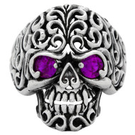 Floral Filigree Skull Ring Sterling Silver 925 Purple Cubic Zirconia Eyes