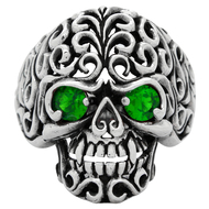 Floral Filigree Skull Ring Sterling Silver 925 Green Cubic Zirconia Eyes