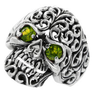 Floral Filigree Skull Ring Sterling Silver 925 Olive Green Cubic Zirconia Eyes