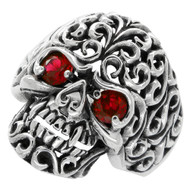 Floral Filigree Skull Ring Sterling Silver 925 Simulated Ruby Red Cubic Zirconia Eyes