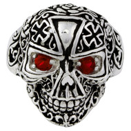 Victorian Skull Iron Cross Simulated Ruby Red Cubic Zirconia Eyes Sterling Silver 925
