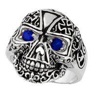 Victorian Skull Iron Cross Simulated Sapphire Blue Cubic Zirconia Eyes Sterling Silver 925