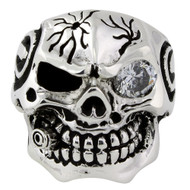 Bullet to the Head Skull Ring Sterling Silver 925 Clear Cubic Zirconia One Eye