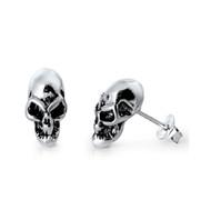 Alien Skull Stud Earrings Sterling Silver 12MM