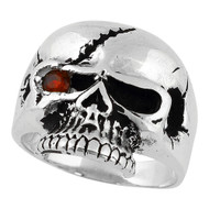 Scarface Bandit Skull Simulated Ruby Red Cubic Zirconia One Eye