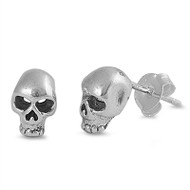 Skull Stud Earrings Sterling Silver 9MM