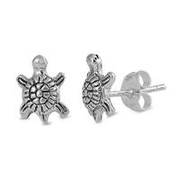 Turtle Stud Earrings Sterling Silver 9MM