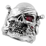 Decaying Joy Skull Ring Sterling Silver 925 Simulated Garnet Red Cubic Zirconia