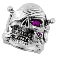 Decaying Joy Skull Sterling Silver 925 Purple Cubic Zirconia