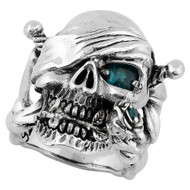 Decaying Joy Skull Sterling Silver 925 Simulated Aqua Blue Cubic Zirconia