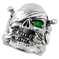 Decaying Joy Skull Sterling Silver 925 Green Cubic Zirconia