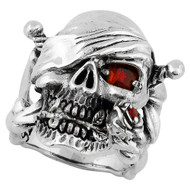 Decaying Joy Skull Sterling Silver 925 Simulated Ruby Red Cubic Zirconia