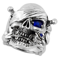 Decaying Joy Skull Sterling Silver 925 Simulated Sapphire Blue Cubic Zirconia