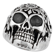Regal Rogue Black Cubic Zirconia Eyes Skull Sterling Silver 925