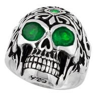 Regal Rogue Green Cubic Zirconia Eyes Skull Sterling Silver 925